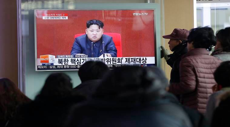 "People watch a TV news program showing North Korean leader Kim Jong Un, at Seoul Railway Station in Seoul, South Korea, Thursday, March 3, 2016. North Korea fired several short-range projectiles into the sea off its east coast Thursday, Seoul officials said, just hours after the U.N. Security Council approved the toughest sanctions on Pyongyang in two decades for its recent nuclear test and long-range rocket launch. The screen reads ""Sanction on the North Korea.""  (AP Photo/Ahn Young-joon)"