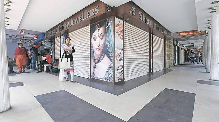 Jewellery shops in Sector 22, Chandigarh, on Wednesday.  Jasbir Malhi