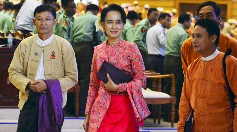 Aung San Suu Kyi, Suu Kyi, Myanmar government, Myanmar democracy, Myanmar democracy champion, Suu Kyi's National League for Democracy, NLD, Junta, Muslim Rohingya minority, Myanmar protests, world news