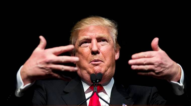 Republican presidential candidate Donald Trump speaks at a campaign event Sunday, Feb. 21, 2016, in Atlanta. (AP Photo/David Goldman)