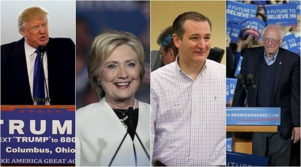 Donald Trump, Hillary Clinton, Ted Cruz, Bernie Sanders, us election 2016, us presidential election