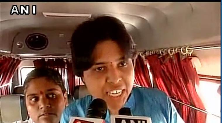 Activist Trupti Desai after she was detained.