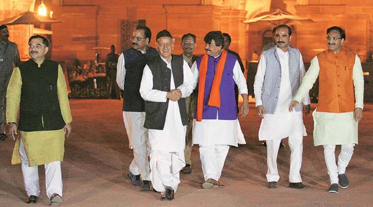 The BJP delegation after meeting President Pranab Mukherjee on Monday. (Express Photo: Prem Nath Pandey)