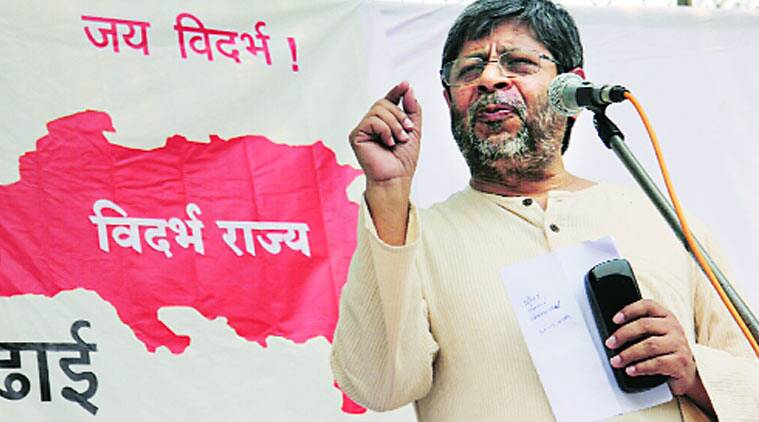 Shrihari Aney at his first public meeting after resigning as the Advocate General, at Nagpur on Saturday. Express photo