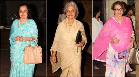 Yesteryear beauties Waheeda Rehman, Helen at 'Kapoor & Sons' screening