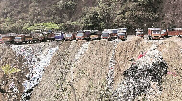 Garbage and industrial waste being dumped in hills in Parwanoo. Express photo by Jaipal Singh