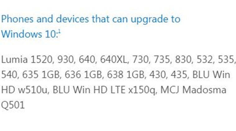 The list of devices that are eligible for Windows 10 Mobile upgrade (Source: Microsoft)