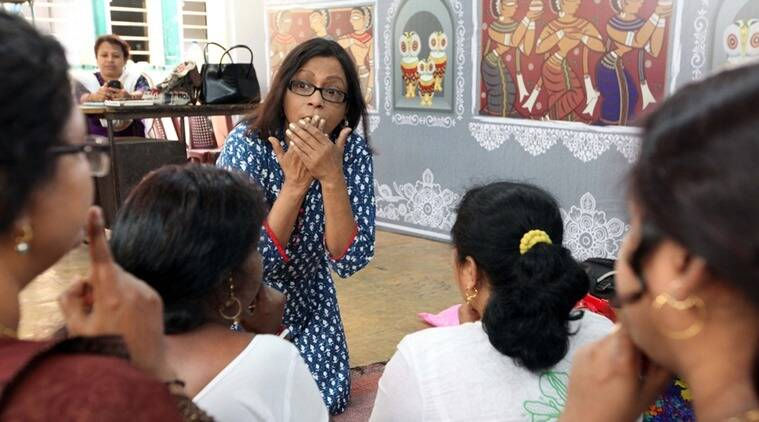 Actors Prepare: Actor Srila Mukherjee at the training sessions for sex workers. (Express photo by Partha Paul)