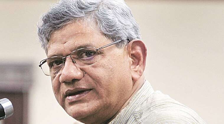 CPI (M) General Secretary Sitaram Yechury addressing a press conference in New Delhi on Sunday Express Photo By Amit Mehra