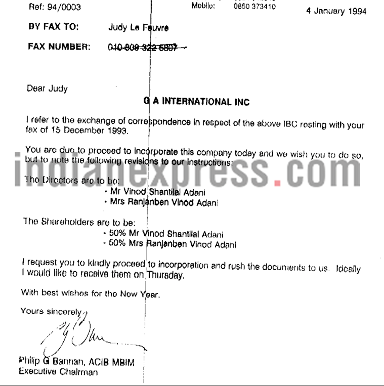 SHAREHOLDING - Vinod Adani and his wife as shareholders of GA International Inc (Bahamas)