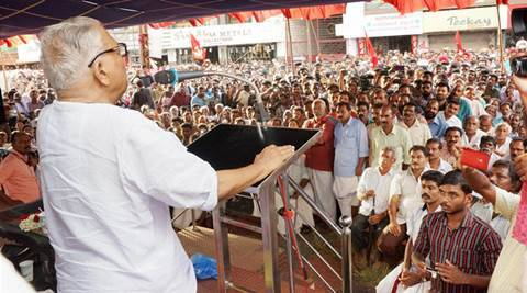 Wayanad: VS Achuthanandan speaks at an election campaign rally at Bathery in Wayanad on Friday. PTI Photo   (PTI4_23_2016_000029B)