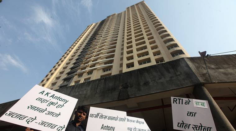 Members of the Adarsh Housing Society addressing the press conference after the collect information from RTI after three year at Cuffe Parade on Saturday. Express photo by Prashant Nadkar, Mumbai, 20/12/2014