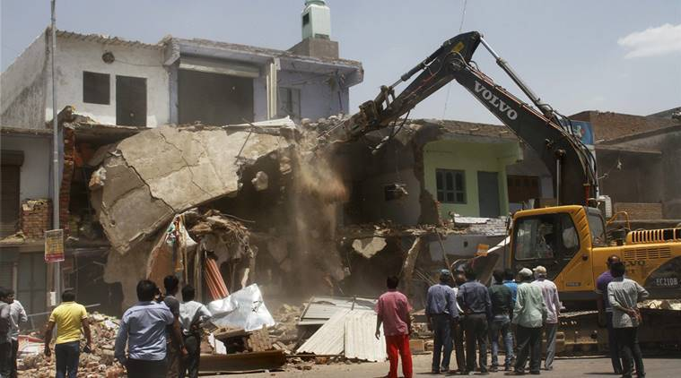 ahmedabad demolition drive, ahmedabad wall collapse,