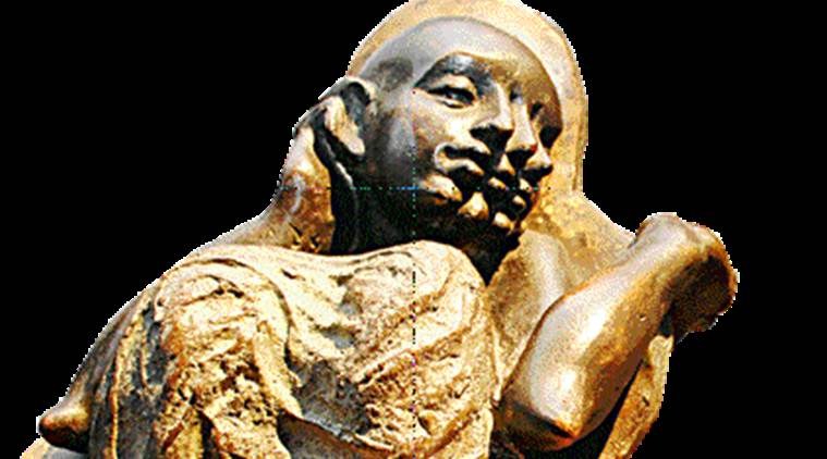 Another bronze marvel by Pandit, titled Trials, shows an unworried child, sitting between his parents