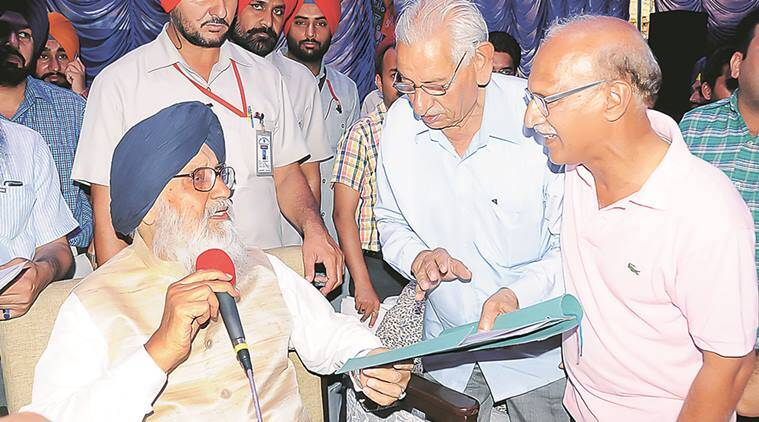 Chief Minister Parkash Singh Badal during Sangat Darshan program at Sri Muktsar Sahib