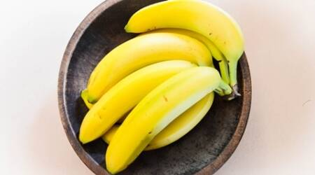 Bananas in a wooden rustic bowl