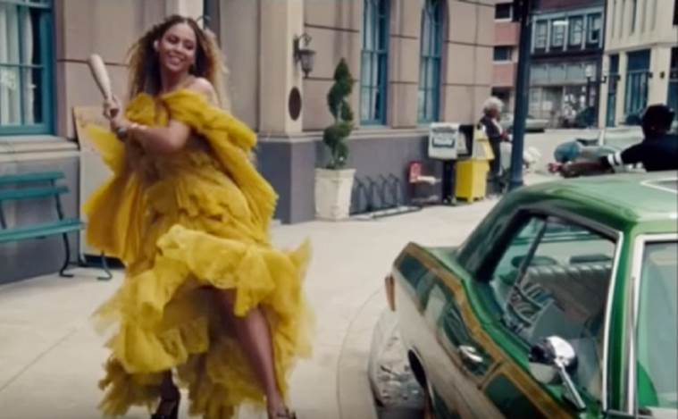 Beyonce in a still from her video Lemonade, where she's seen venting her rage against supposed infidelity by husband Jay-Z.