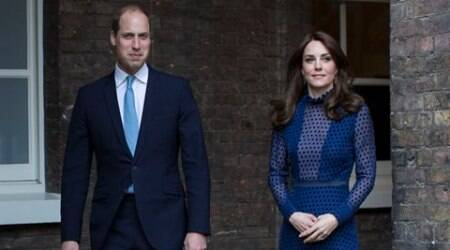 Prince William and Kate, the Duchess of Cambridge, center, attends a reception at Kensington Palace on Wednesday April 6, 2016, ahead of their tour to India and Bhutan. (Warren Allott/Pool via AP)
