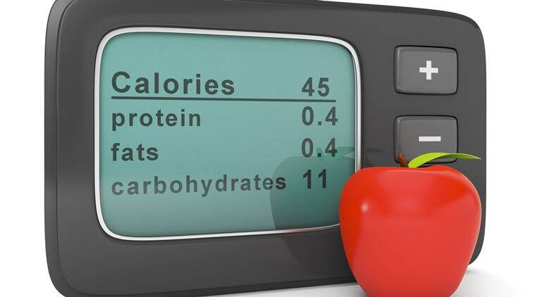 Diet health and beauty. Calorie counter with apple
