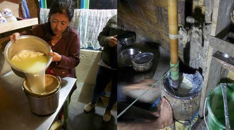 The chhurpi being strained by Radha Gorung, the author's host in West Sikkim (L), all the yoghurt is churned in a wooden churner for at least an hour.