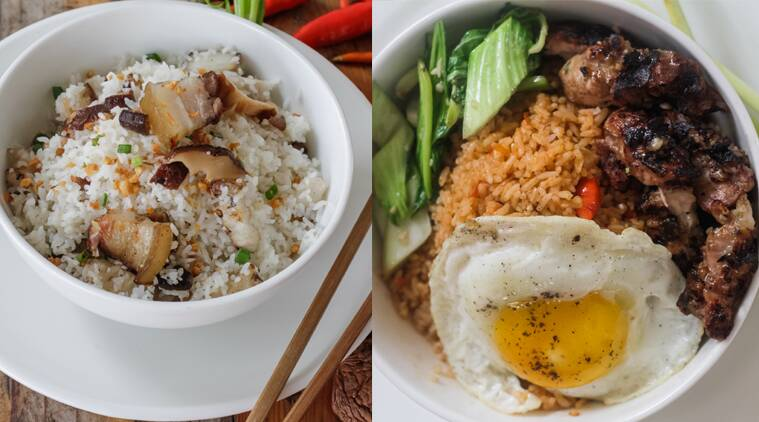 On the new menu at Bengaluru's One Night In Bangkok: Pork belly and shiitake mushroom rice (L), Roast chicken rice bowl.