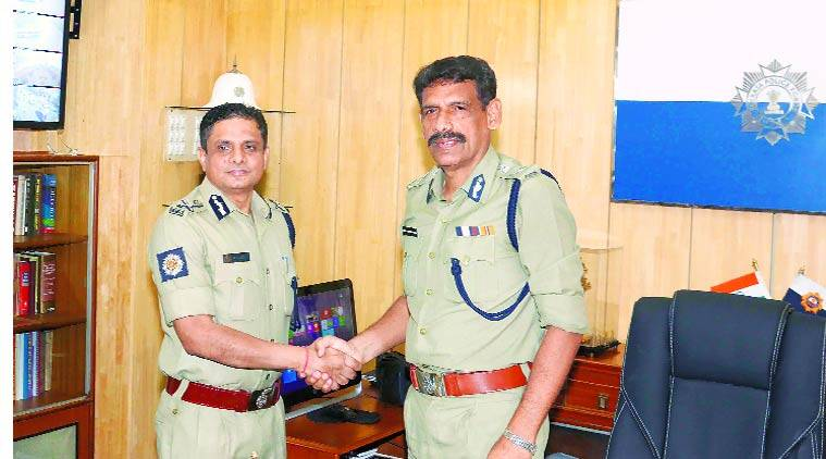 Outgoing Police Commissioner  Rajeev Kumar(left). Express Archive
