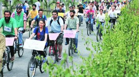 Panjab University students take out rally to promote cycling oncampus
