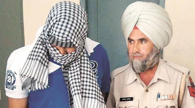 Police with one of the arrested boy in girl dragged and rape case in Mukatsar sahib.Express photo by Gurmeet Singh
