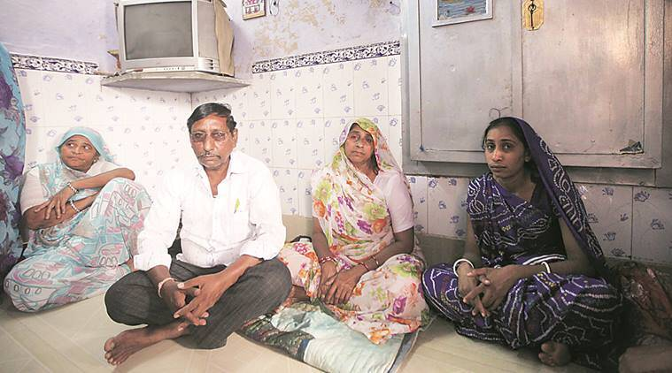 Ketan Koradia's father Dalpat, mother Jasu (second from right) and sister at their home in Ahmedabad. Javed Raja
