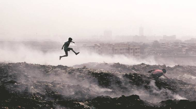 THE city continued to witness smog, a day after a fire broke out at the Deonar dumping ground. The Air Quality Index (AQI) too worsened in the city, falling into the 'very poor' category the whole of Friday.  Express photo photo by Narendra Vaskar, 300116, Mumbai.