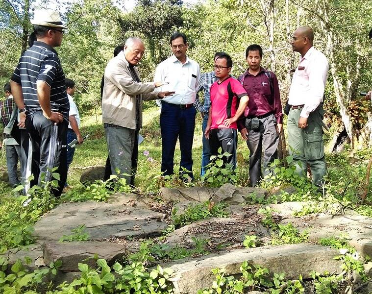 Intach convenor P Rohmingthanga (in beige jacket), who urged the ASI to investigate the site.