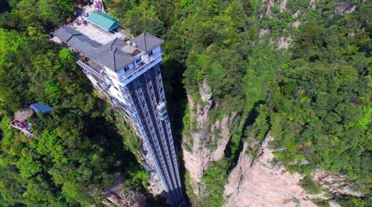 world's tallest lift, China, Bailong Elevator, 326m-tall glass Bailong Elevator, Zhangjiajie Forest Park, Wulingyuan Scenic Area
