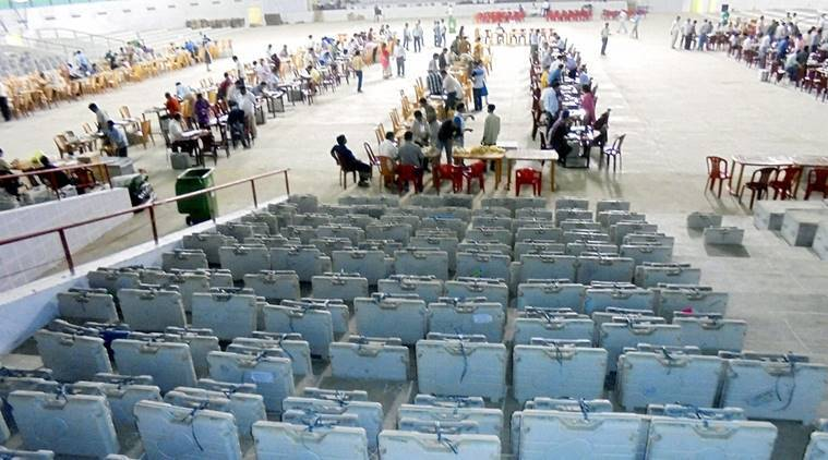 EVM machines lined up for inspection by officials at Amingaon in Kamrup district of Assam on Wednesday. (Source: PTI)