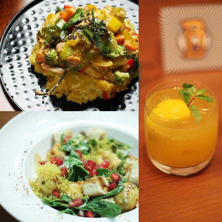 We were impressed with Dishkiyaoon's wholesome daliya khichdi that went well with the mirch ka saalan (top left), the Triple M at Dishkiyaoon in BKC- ganga jamuna juice with Malibu- is perfect for a summer evening (R), if you can't choose between healthy and greasy, go for the Vada Pav Salad at Dishkiyaoon.