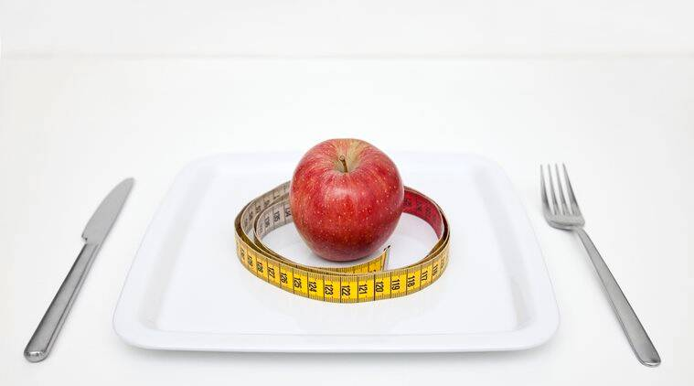 Plate with apple and tape measure