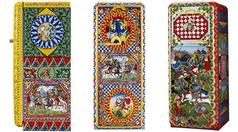 The fridges are painted with provincial symbols and medieval scenes.