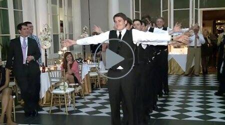 Watch this groom and groomsmen wow everyone with their hilariousdance