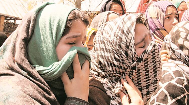Girls crying near the body of Nayeem who was killed by police and army in handwara. Express Photo by Shuaib Masoodi 13-04-2016