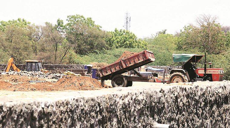 The site of Sanjaynagar redevelopment where the temple was located.Express Photo By Bhupendra Rana