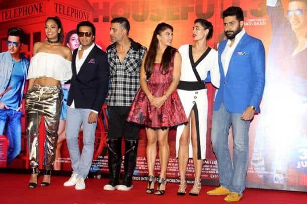 Housefull 3, Akshay Kumar, Abhishek Bachchan, Riteish Deshmukh, Jacqueline Fernandez, Lisa Haydon, Nargis Fakhri