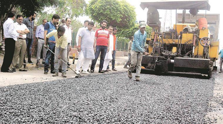 Re-carpeting of road at dividing road between sector-6 and Sector-1, Panchkula started on Friday, April 15 2016. Express photo