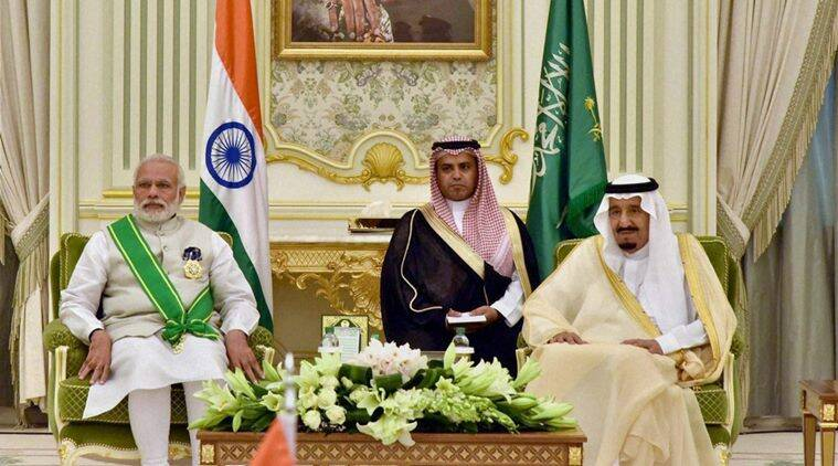 Prime Minister Narendra Modi at the signing of agreements between India and the Kingdom of Saudi Arabia in Riyadh on Sunday. PTI Photo