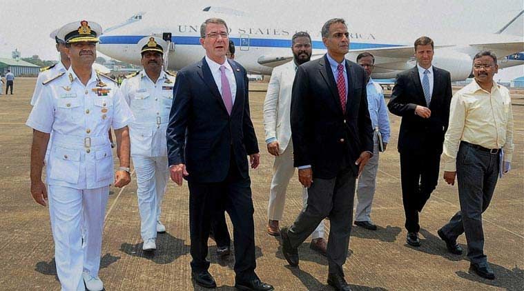 US Defence Secretary Ashton Carter being greeted by Indian officials on his arrival at Debolim airport in Goa. (Source: PTI)