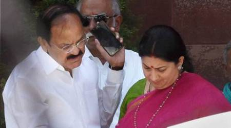 New Delhi: Union Parliamentary Affairs Minister Venkaiah Naidu and HRD Minister Smriti Irani after a Cabinet meeting at South Block  in New Delhi on Wednesday. PTI Photo by Subhav Shukla(PTI4_13_2016_000056B)