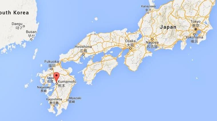 Earthquake Measuring Magnitude Strikes Japan The Indian Express - Japan quake map 2016