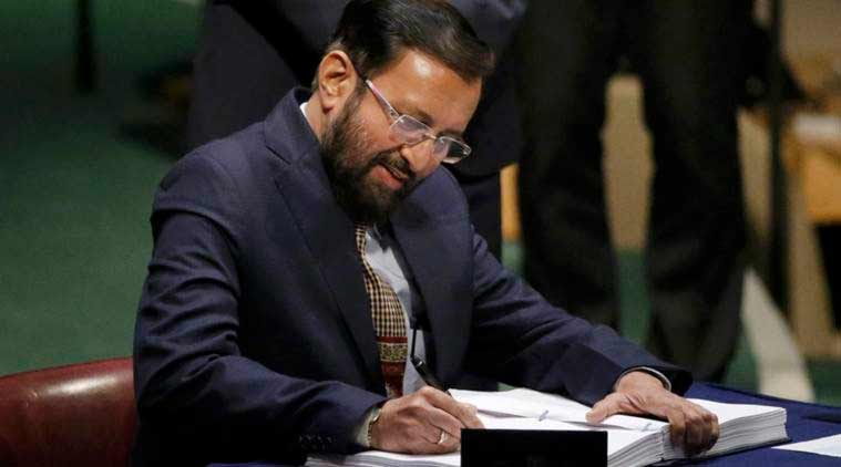 Paris Climate deal, Paris Climate Agreement, Climate treaty, climate change, emissions reduction, Prakash Javadekar minister for environment and forests, United Nations climate treaty, signing in New York, record for signature of most countries, india news, world news