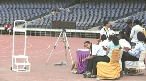 With no power supply at jawaharlal nehru stadium indian for Farcical hindi