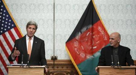 U.S. Secretary of State John Kerry and Afghanistan's President Ashraf Ghani deliver remarks to reporters at Dilkusha Palace'Äé in Kabul April 9, 2016. REUTERS/Jonathan Ernst
