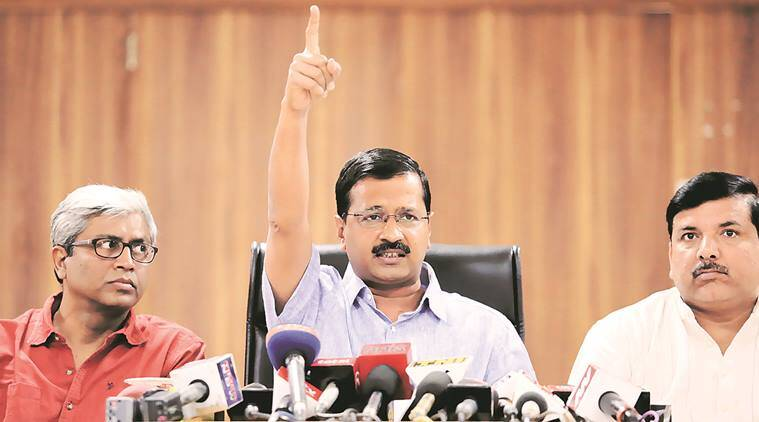 Delhi Chief Minister Arvind Kejriwal at a press conference on Tuesday. Praveen Khanna