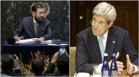 Prakash Javadekar, Piyush Goyal, John Kerry, paris climate agreement, paris, climate agreement, climate change, india news
